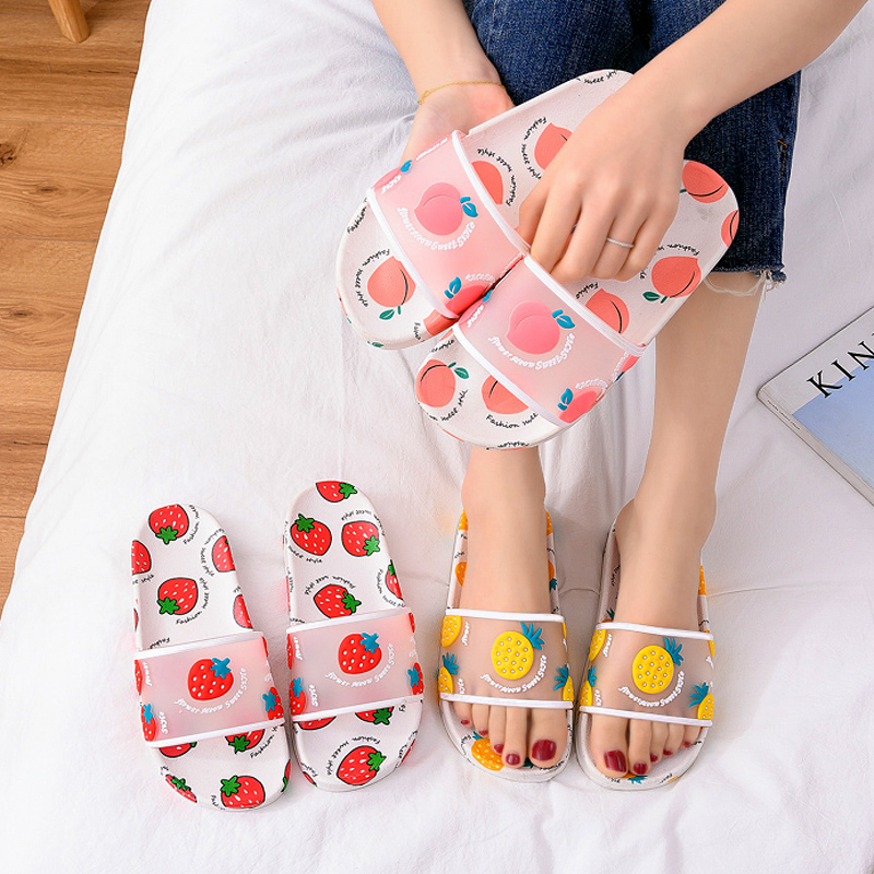 Women Summer Slippers Cartoon Strawberry peach Soft Sole Slides Home Slippers Outdoor Ladies Sandals Women Shoes Flip Flops 4