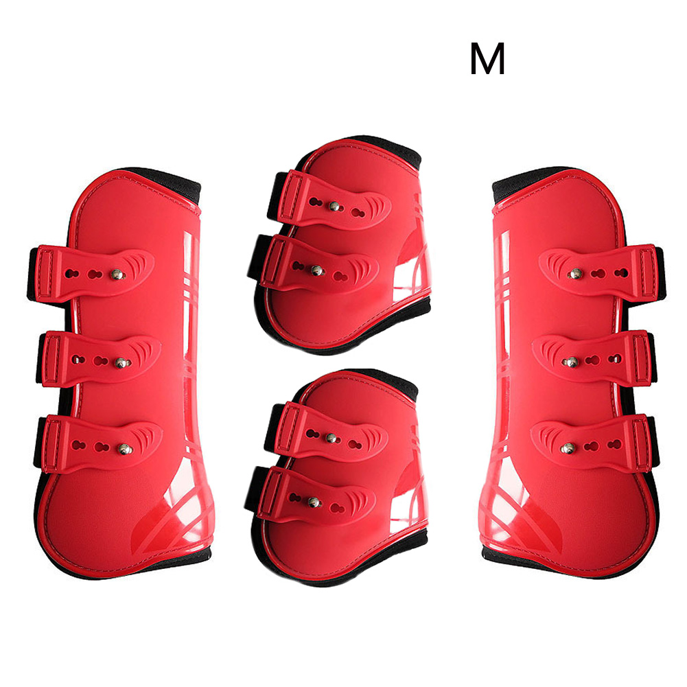 Front Hind Horse Leg Boots Practical PU Leather Farm Equestrian Adjustable Protection Wrap Durable Training Brace Outdoor Riding
