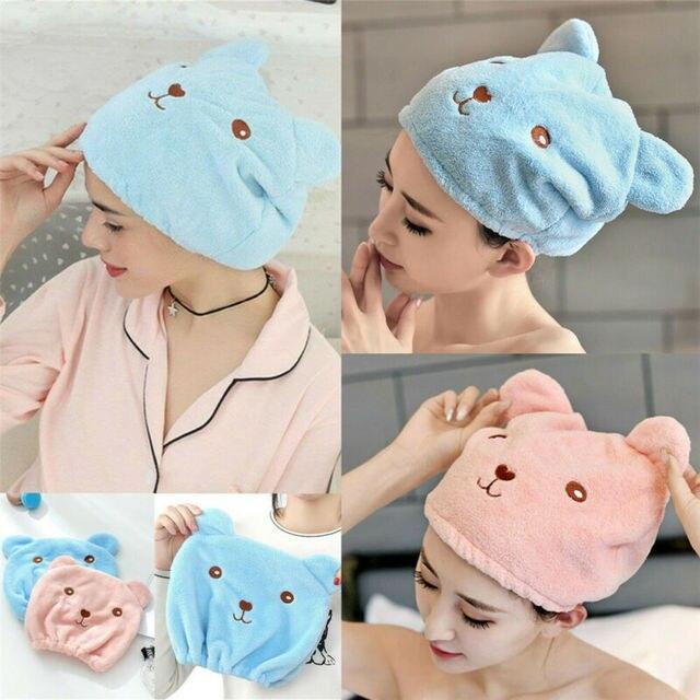 Chaude microfibre solide rapidement sec cheveux chapeau cheveux Turban femmes filles dames casquette bain séchage serviette tête enveloppement chapeau chat oreilles modèle