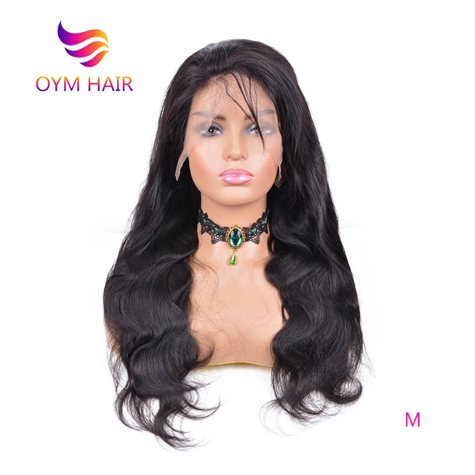 OYM HAIR 150% Density Full Lace Human Hair Wigs Pre Plucked Brazilian Remy Body Wave Hair Full Lace Wig For Women