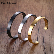 KISS MANDY 8mm Width Surface Men Bracelet & Bangle Stainless Steel Silver/ Gold / Black 3 Color Available KB301