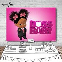 Sensfun Boss Baby Kleine Schwarze Mädchen Geburtstag Party Fotografie Hintergrund Für Kinder Heißer Rosa Hintergründe Für Foto Studio 7x5FT