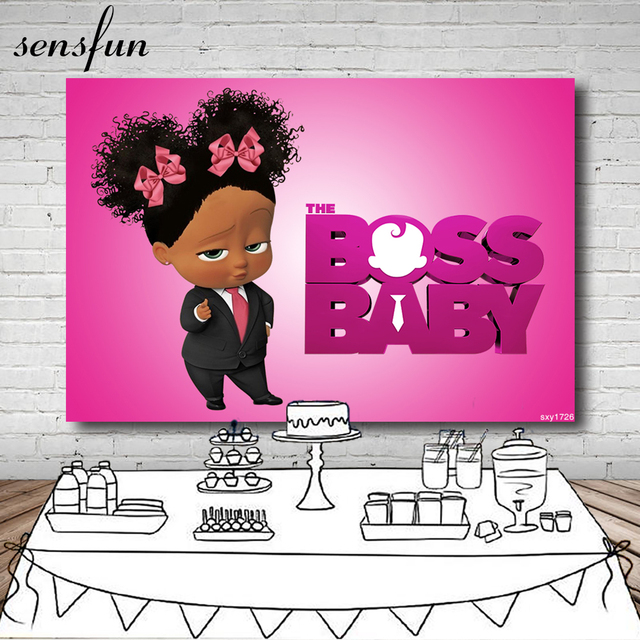 Sensfun Boss Baby Little Black Girl Birthday Party Photography Backdrop For Kids Hot Pink Backgrounds For Photo Studio 7x5FT