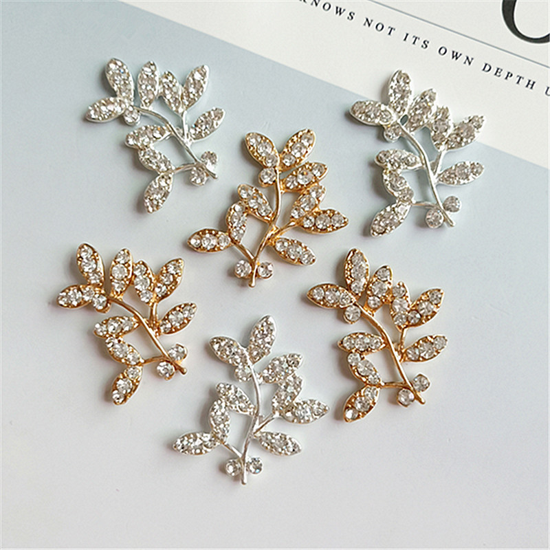 10 pcs/lot Tree branch Leaves Flower Gold Or Silver Rhinestone Buttons Flatback Embellishment button for DIY hair accessories