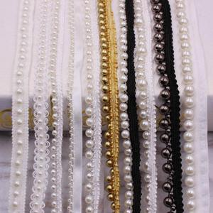 1Roll/ Yards White/black Pearl Beaded Lace Trim Tape Lace Ribbon African Lace Fabric Collar Headdress Dress Sewing Garment(China)
