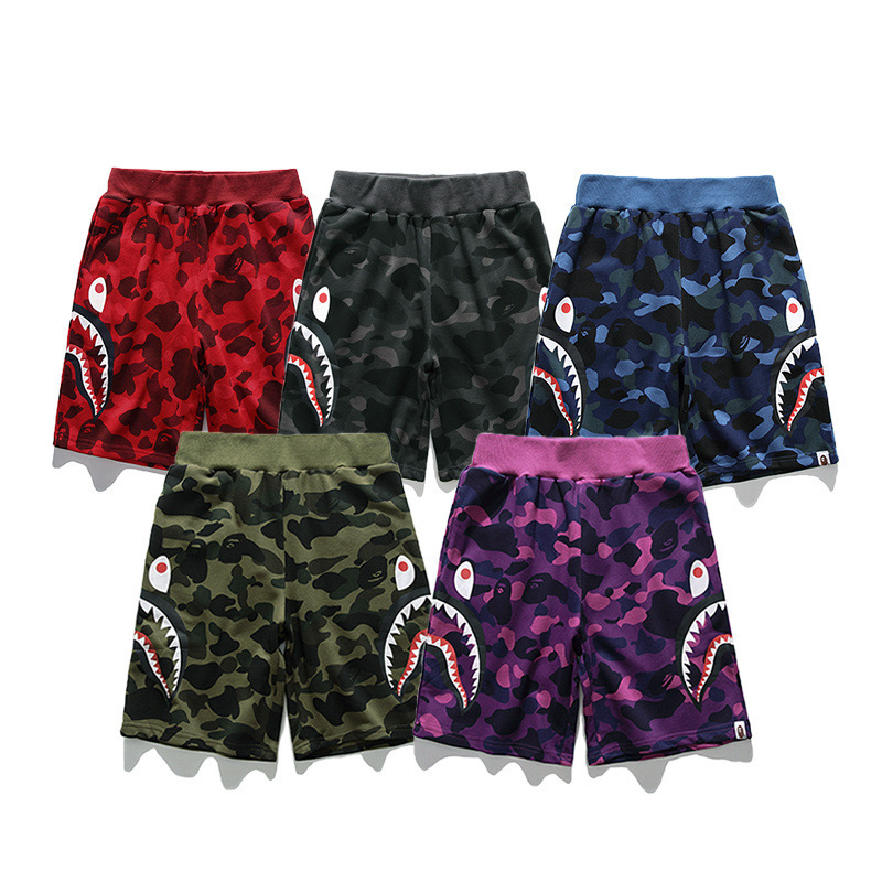 Japanese-style Popular Brand Men And Women Teenager Hot Selling Camouflage Multi-color Side Edge Teeth Printed Pure Cotton Large