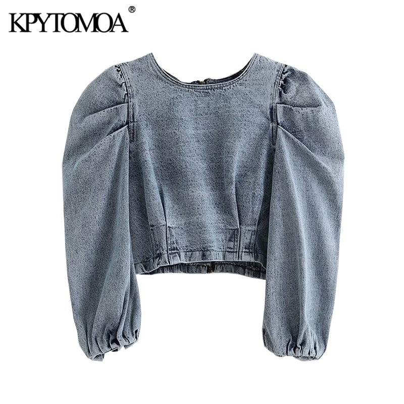 Vintage Stylish Short Style Pleated Denim Blouses Women 2020 Fashion Back Zipper Puff Sleeve Shirts Chic Crop Top Blusas Mujer