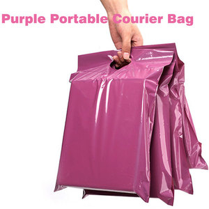 50pcs/lots Purple Tote Bag Express Bag Courier Bags Self-Seal Adhesive Thick Waterproof Plastic Poly Envelope Mailing Bags(China)