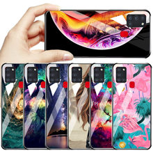 Tempered Glass For Samsung A51 Case A50 A71 A70 A21S Soft Marble Painted Cover For Galaxy S20 Ultra S10 S9 S8 Plus Cover Hard PC(China)