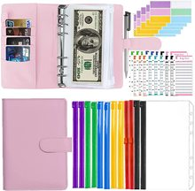 Budget Binder with Zipper Envelopes, Pu Leather A6 Binder Cash Envelopes for Budgeting ,Budget Planner Set with 12 Pcs Clear Bin
