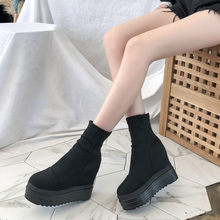 Women's Casual Thick-Soled Wedge Socks Boots Shoes woman Increase High Flat Boots Ladies Short Boot Warmer Hiking Snow Boots(China)