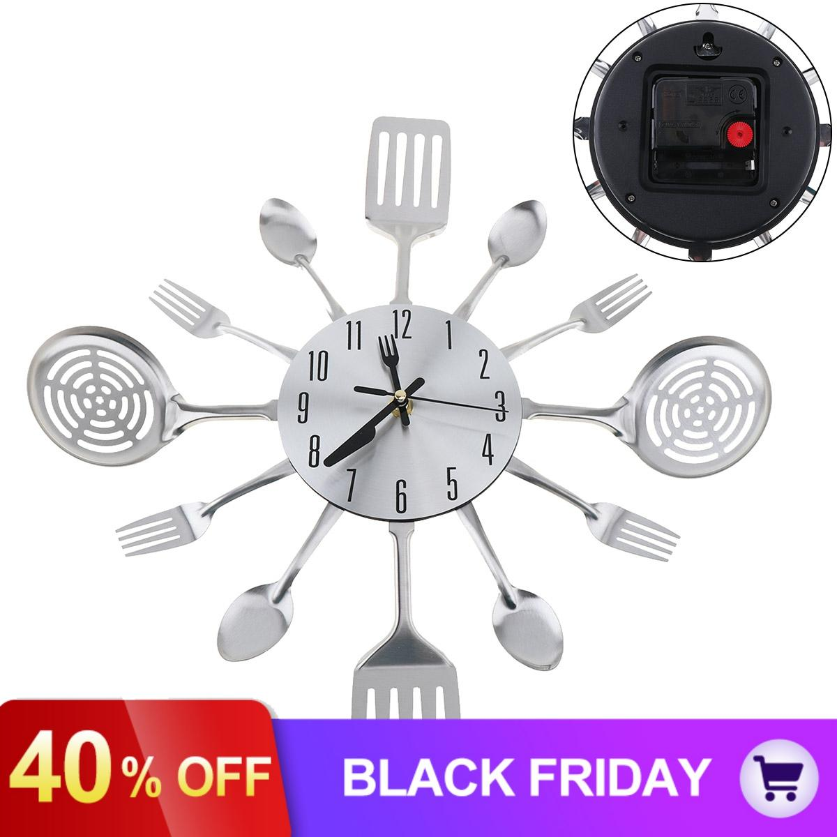 Silver Fashion Simple 3D DIY Wall Clock Cutlery Horloge With Knive And Forks For Home Kitchen Living Room