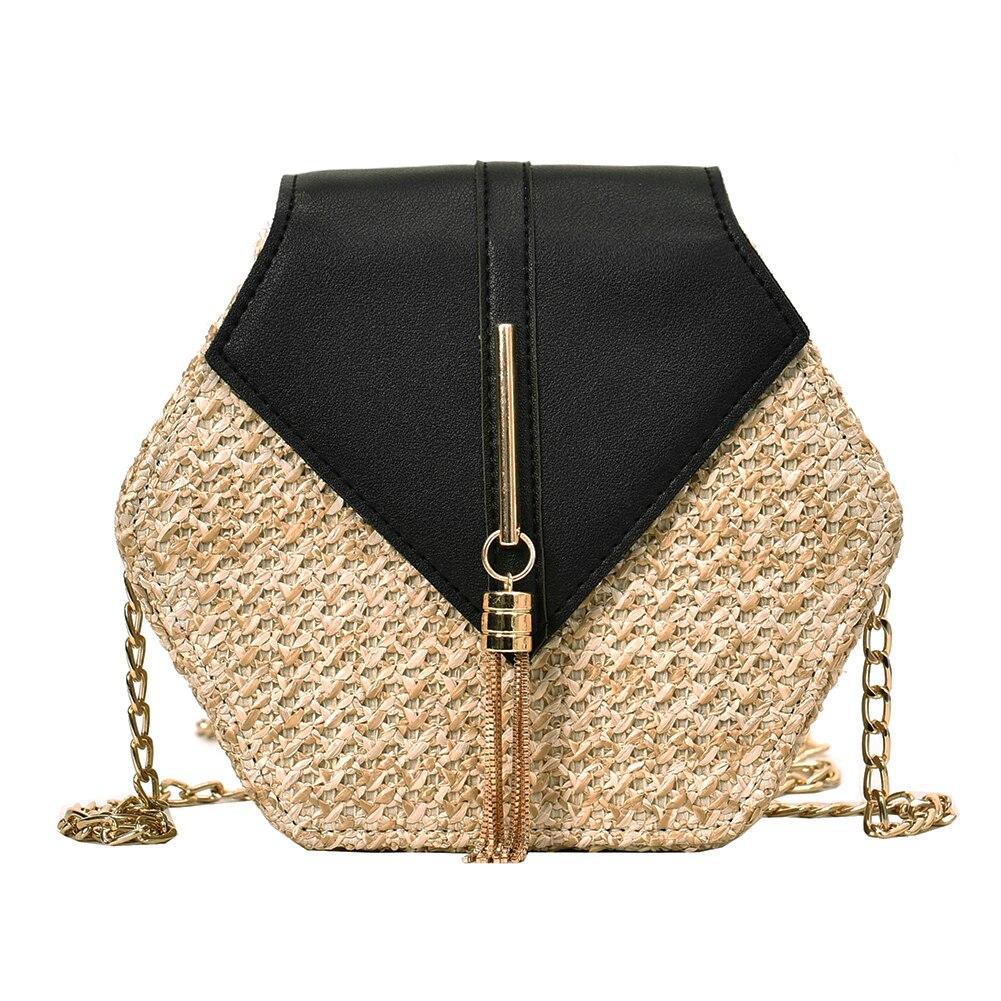 Hexagon Mulit Style Straw+leather Handbag Women Summer Rattan Bag Handmade Woven Beach Circle Bohemia Shoulder Bag