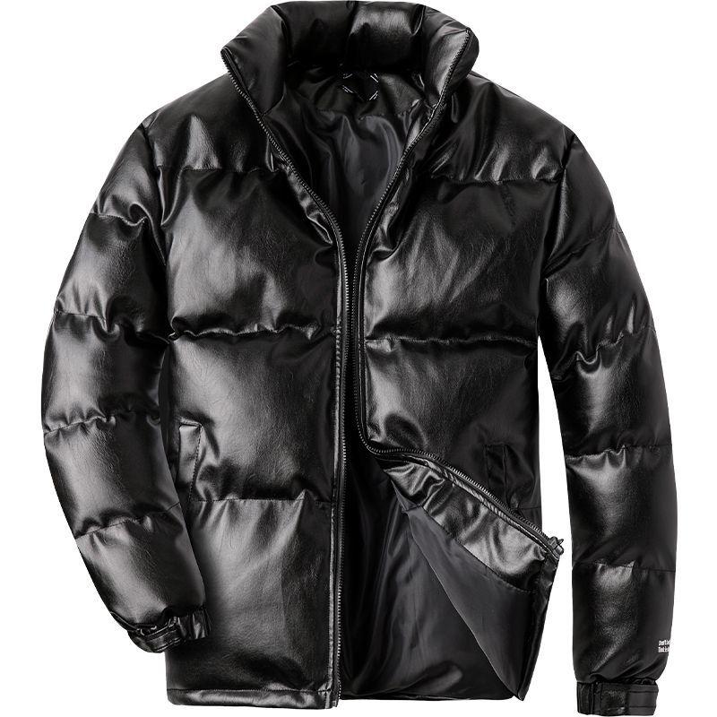 2020 Woodvoice Winter Jacket Men Casual Wear Padded Warm coat male PU Leather thicken Coat Man's  Windproof Fashion Black coat