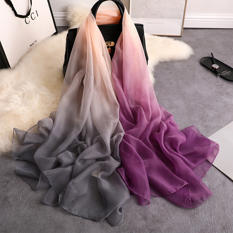 Thin Silk Long Scarf For Women Beach Shawls And Wraps Lady Foulard Pashmina Solid Scarves Bufanda 2020 Spring