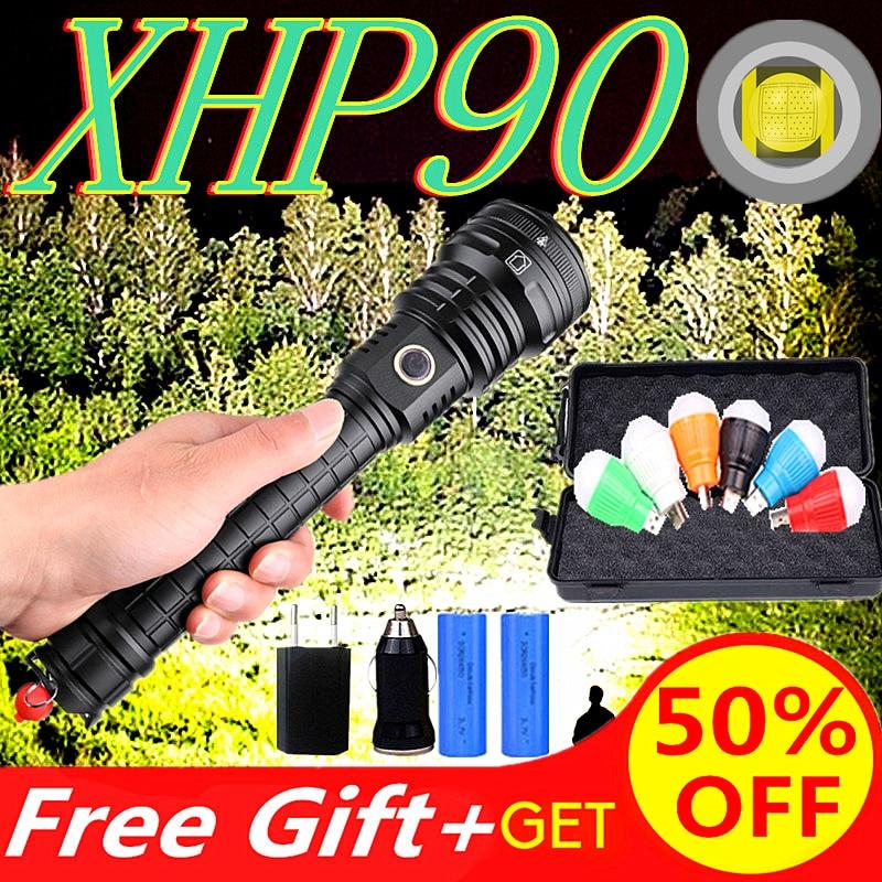 8000LM High Power XHP90 LED Flashlight Xlamp Aluminum Hunting L2 Waterproof Torch Light Powerful Lanterna Use 18650 26650 Batte