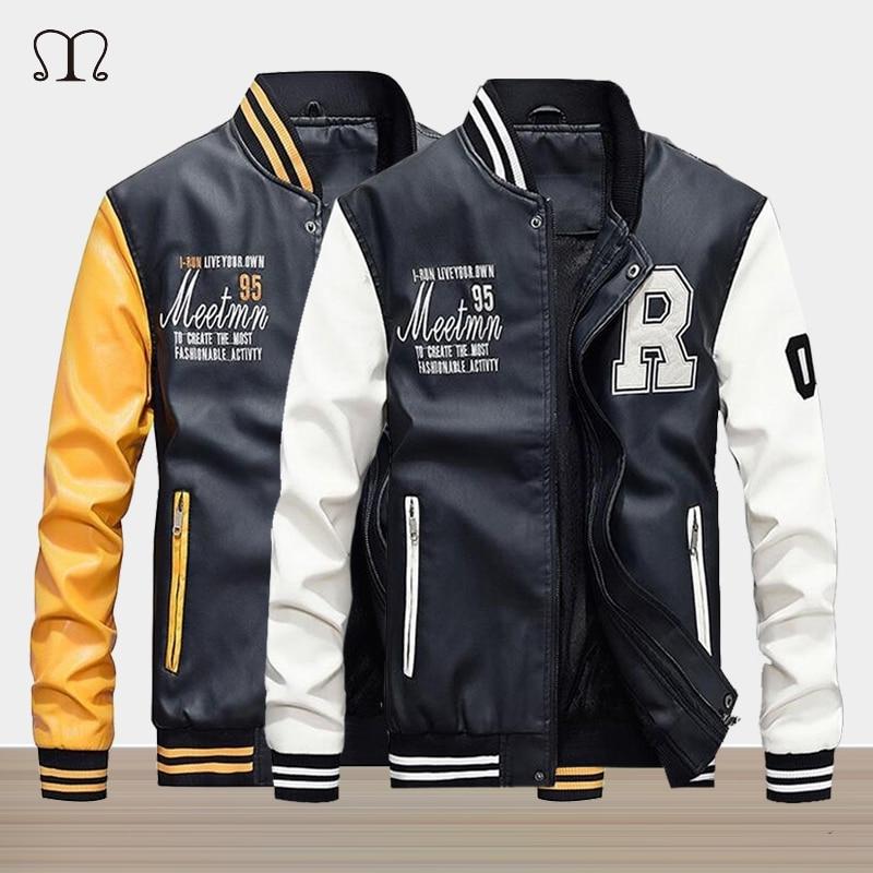 Мужская кожаная куртка зима 2019 бренд вышивка бейсбольные куртки мужской кардиган-Пончо теплый флис пилот куртка Бомбер верхняя одежда