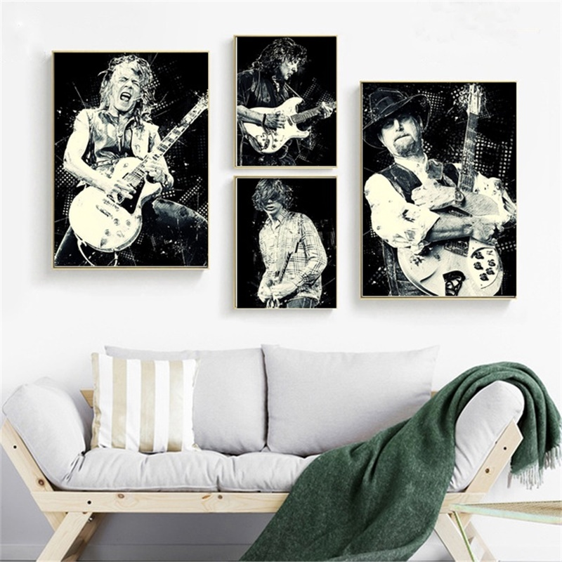 <font><b>RANDY</b></font> <font><b>RHOADS</b></font> RITCHIE BLACKMORE ROGER MCGUINN THURSTON MOORE Poster Canvas Painting Home Decor No Frame quadro cuadros image