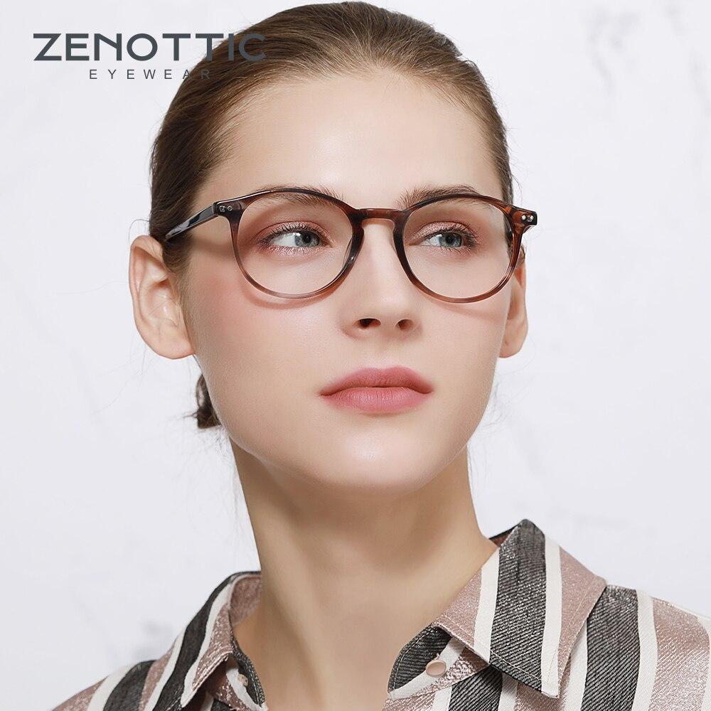 ZENOTTIC Acetate Retro Glasses Frame For Women Men Round Light Eyeglasses Prescription Glasses Myopia Optical Clear Lens Eyewear