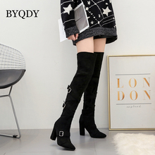 BYQDY Fashion Flock Women Winter Long Boots Over The Knee Buckle Lady Snow Waterproof Girlfriend Shoes Size 35-40