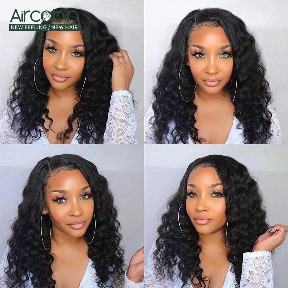 Aircabin 32 30 Zoll 13x4 HD Transparent Spitze Frontal Verschluss Perücken Lose Tiefe Welle Brasilianische Menschliches Haar Für schwarz Frauen Nicht-Remy