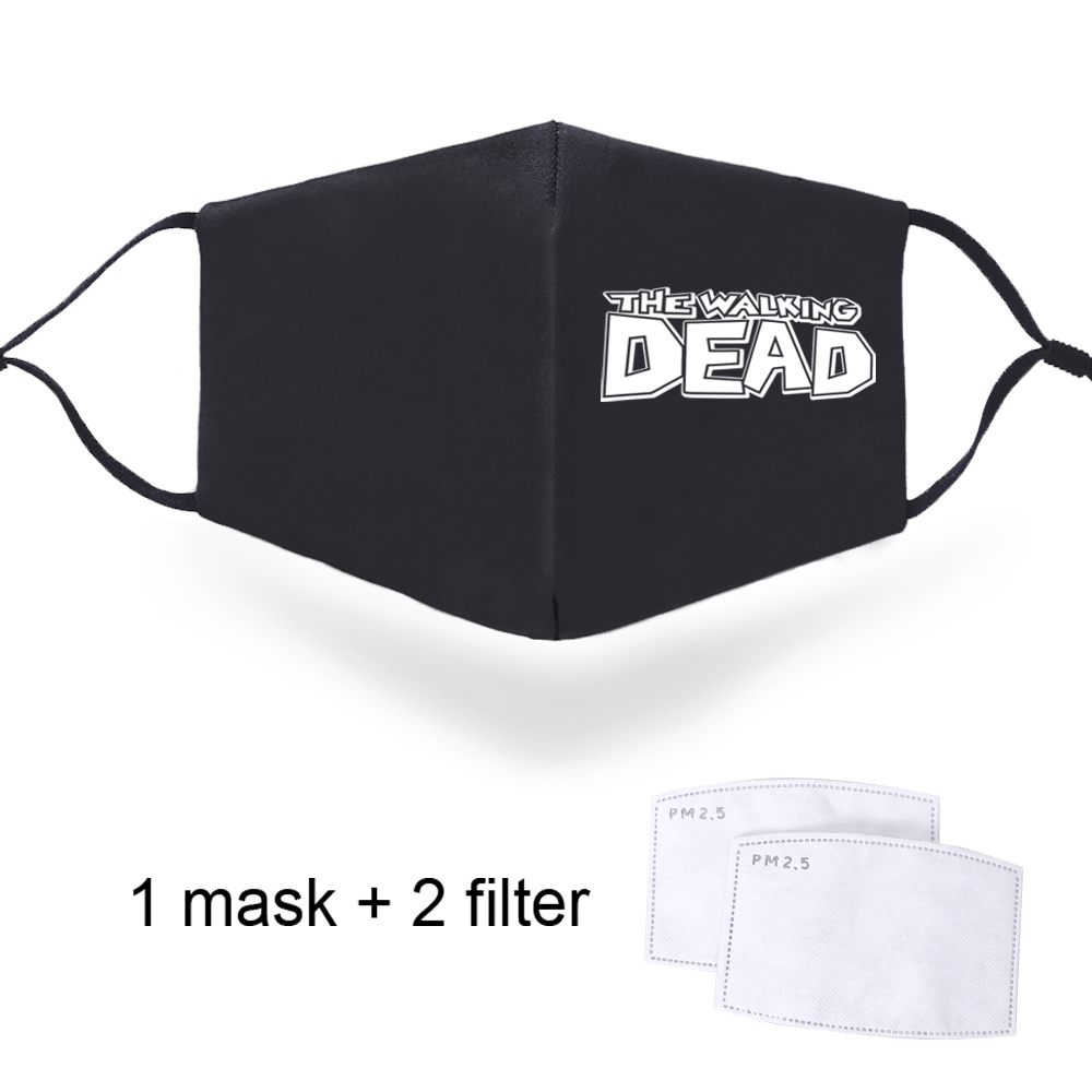The Walking Dead Print Masks Reusable PM2.5 Activated Carbon Filter Paper Half Face Mouth Muffles Outwear Black Windproof Mask