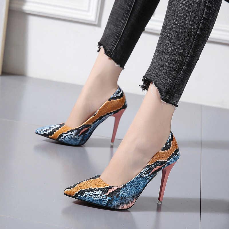 Zapatos de tacón de aguja de talla grande 34-42, zapatos de mujer de tacón rojo puntiagudo a cuadros, zapatos de mujer poco profundos de tacón Delgado 2020, zapatos de boda para fiesta