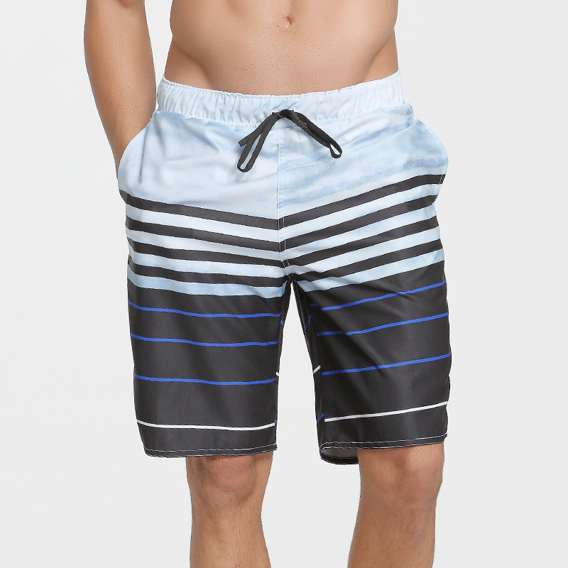Men Quick-Dry Beach Shorts Summer Loose-Fit Printed Short Boxer Beach Swimming Trunks Quick-Drying Hot Springs Swimming Trunks F