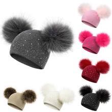 YEABIU, зимние плотные шапки для женщин, мам и детей, однотонные вязаные повседневные теплые шапки унисекс, зимние шапки для девочек и мальчиков