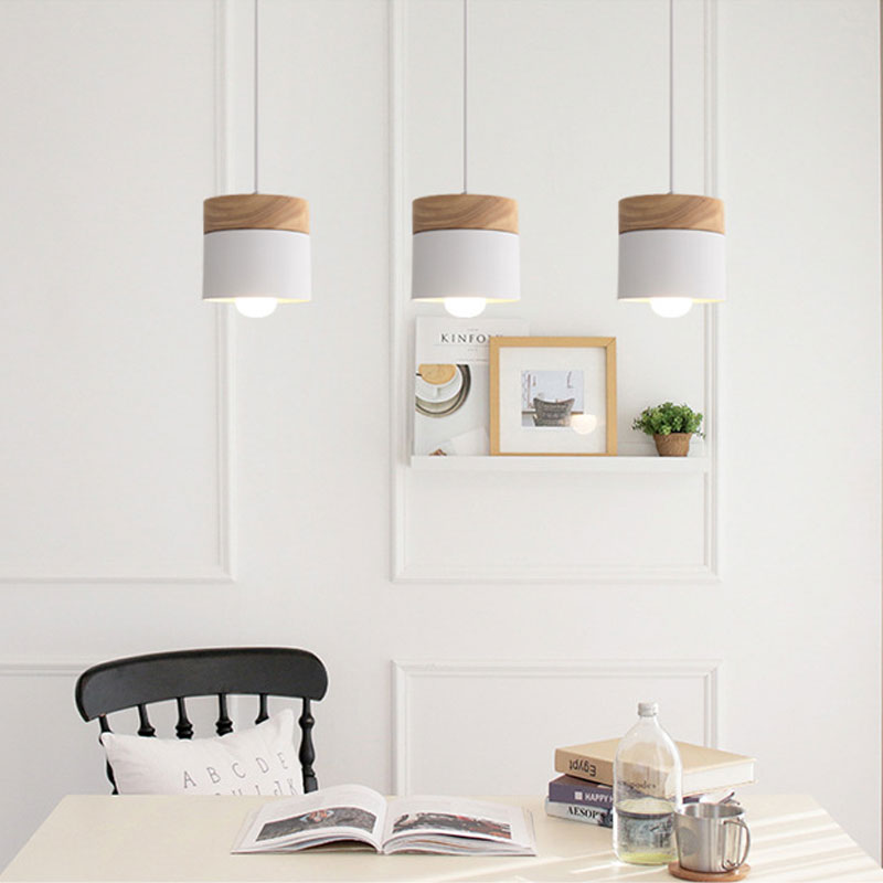 Best selling Nordic minimalist LED E27 chandelier modern macarons chandelier home decoration wrought iron wood decorative light