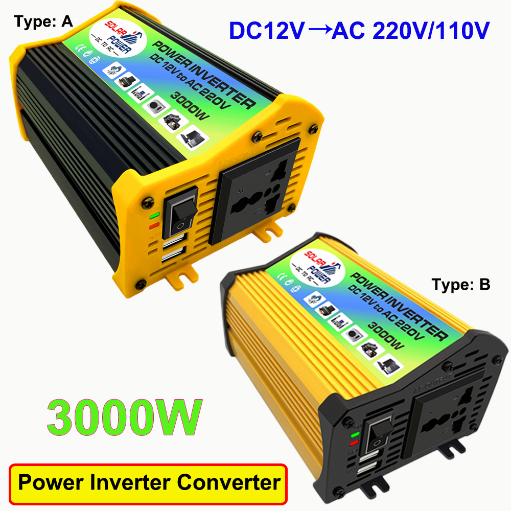 <font><b>3000W</b></font> Car Power <font><b>Inverter</b></font> Solar Converter Adapter Dual USB LED Display <font><b>12V</b></font> to 220V/110V Voltage Transformer Modified Sine Wave image