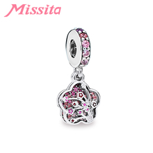 MISSITA Women Cherry Blossom Pendant Charm fit Pandora Original Bracelets for Jewelry Making Ladies Accessories