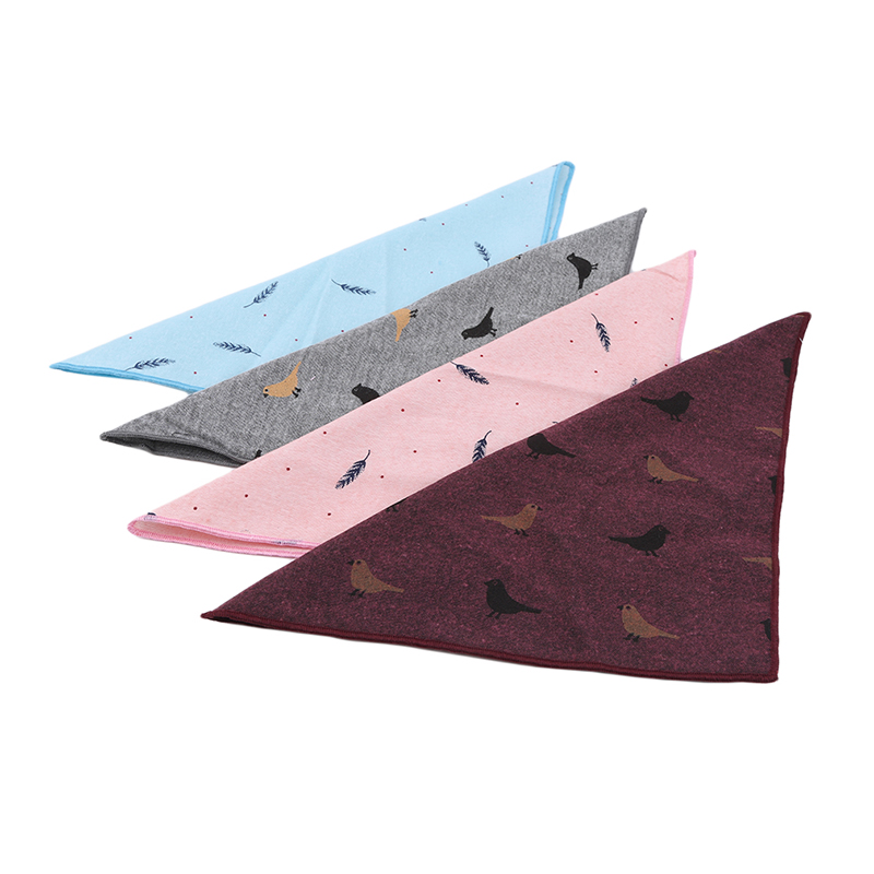 Men's Pocket Handkerchief Soft Cotton Printed Bird Feather Square Scarf Fashion Elegant Ladies Wedding Party