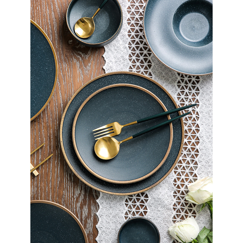 ceramic dinner plates gold layer dishes and plates sets frosted dinnerware set creative cutlery set tableware pigmented dish