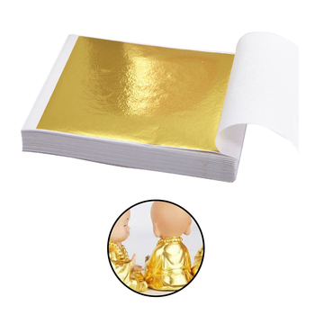 100pcs Foil Sheet Home Office Wall DIY Gilding Copper Foil Paper Gift Box Case Handicrafts Gilding Decoration image