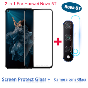 2 in 1 Tempered Glass + Camera Lens Glass For Huawei Nova 5T 6.26 inch 5 T Protector Camera Lens Glass Case For Huawei Nova 5T(China)
