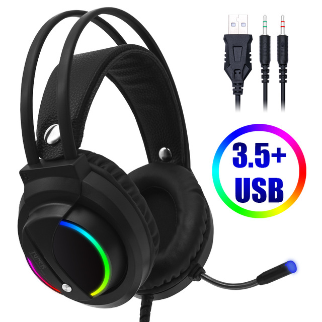 Gaming Headset 7 1 Surround Sound USB 3 5mm Wired Game Headphones with Microphone Stereo LED USB Headphone For PC PS4 Gamers