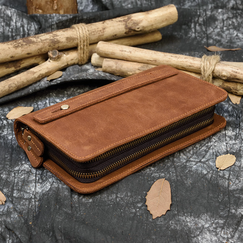 MAHEU Retro Zipper Long Purse With 6 Inch Phone Pouch Feature Zip Long Wallet Crazy Horse Leather Men Women Mobile Phone Purse
