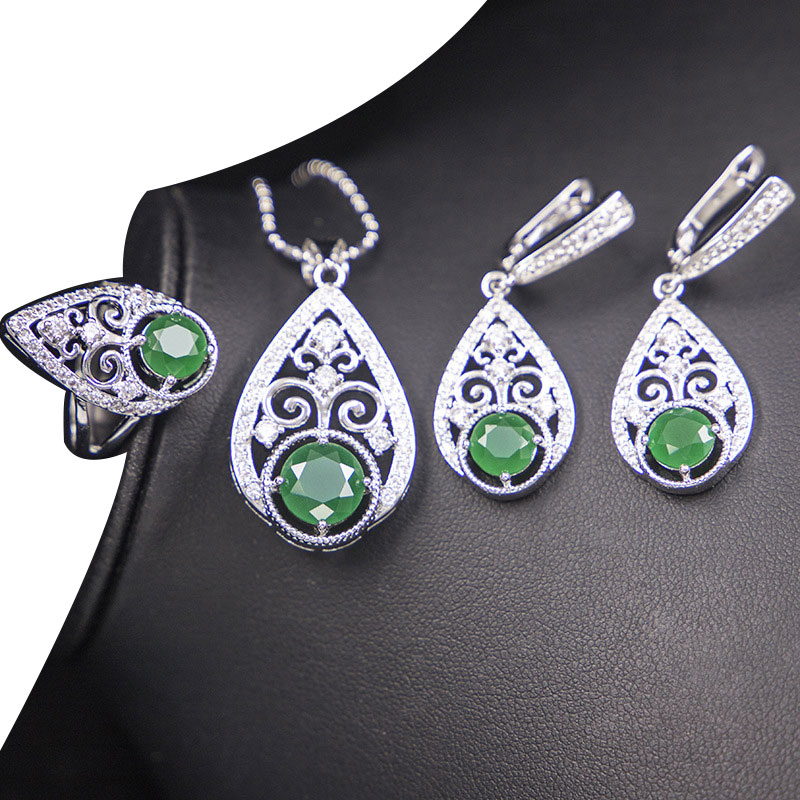 Green Emerald 925 Silver Jewelry Sets For Women White Topaz Bridal Jewelry Necklace Earrings Ring