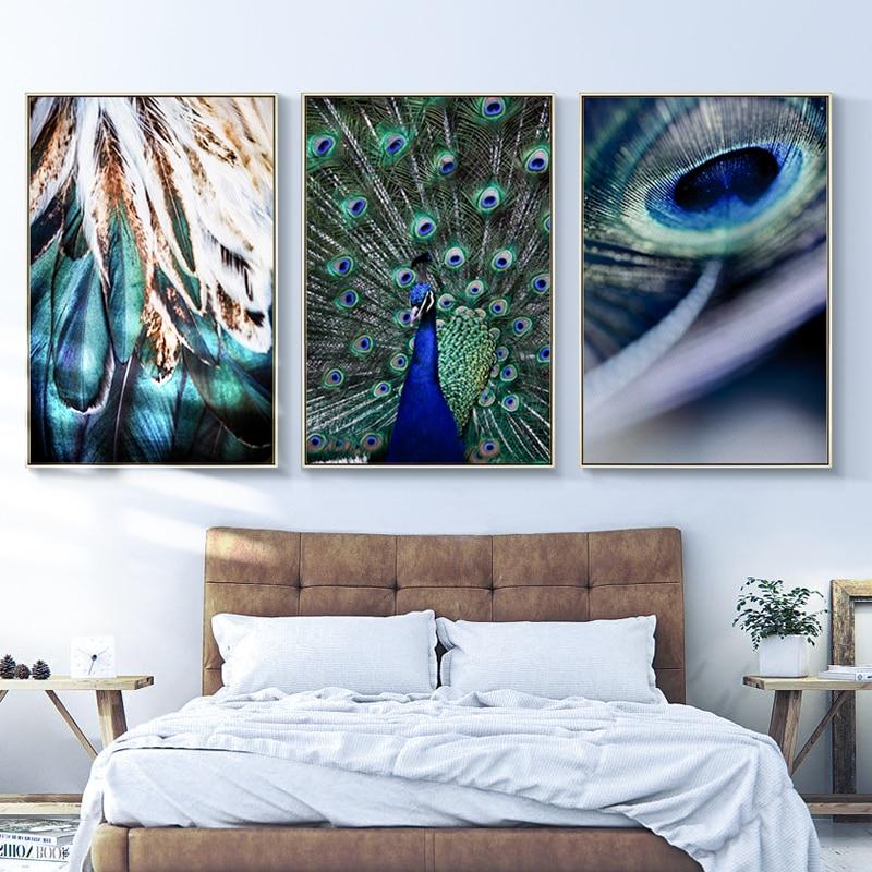 Синее Перо Павлина Цитата пейзаж настенная живопись на холсте картина Nordic Плакаты и принты настенные картины для Гостиная домашний декор