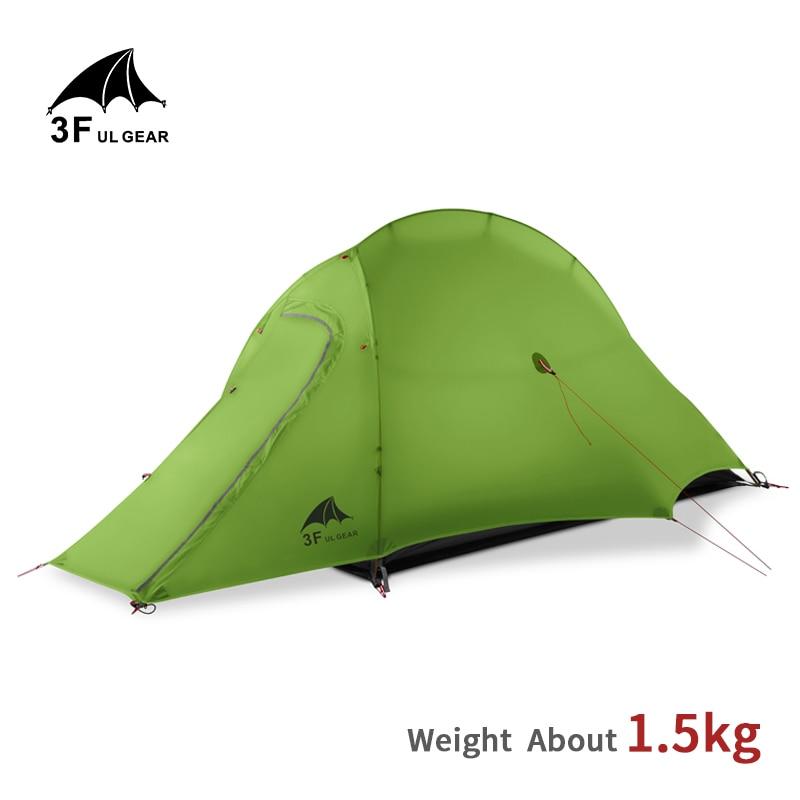 3F UL GEAR Tent 15D силиконовый Сверхлегкий 1 человек, двухслойная палатка для кемпинга, для активного отдыха, 3 4 сезона, туристическая палатка с бес