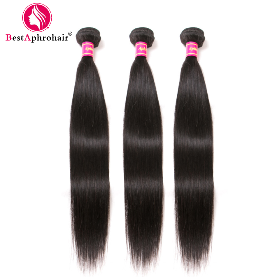 Aphro Brazilian Straight Hair Human Hair 3 Bundle Deals Brazillian Hair Weave Bundles Natural Color #1b Non Remy Hair Extensions-in DIY Wigs from Hair Extensions & Wigs    1