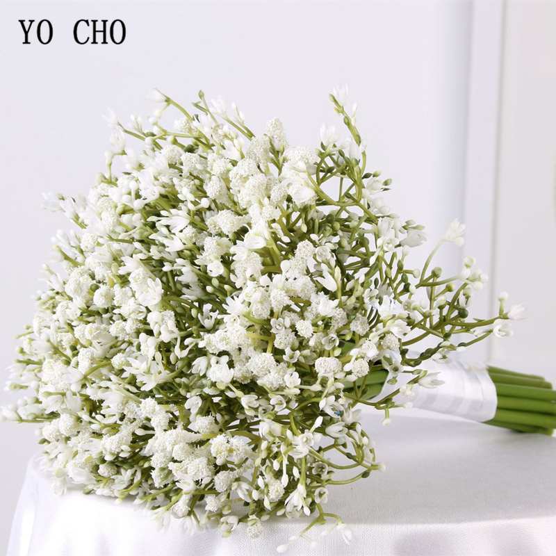 YO CHO Bride Wedding Flower Bouquet Bridesmaid Babysbreath Bouquets Purple Artificial Flower Babysbreath Wedding Accessories