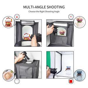 Image 2 - Caja de luz LED plegable para estudio fotográfico, 40x40cm, 15,5 pulgadas, fondo blanco, verde, negro, caja de accesorios