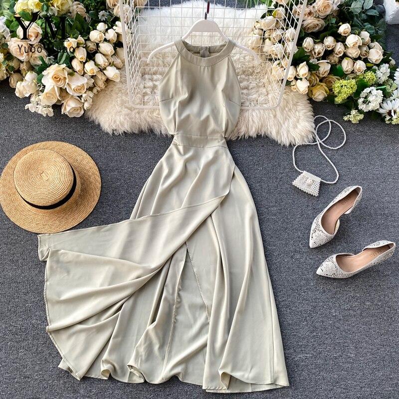 Женское длинное платье без рукавов YuooMuoo, однотонное вечернее платье трапециевидной формы с разрезом на талии, лето 2019|Платья|   | АлиЭкспресс - Платья