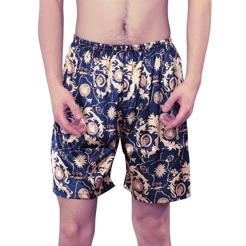 Men Silk Satin Pajamas Short Pants  Sleep Bottoms  Plus 3 Colors Plus Size Casual Home Pajamas Shorts