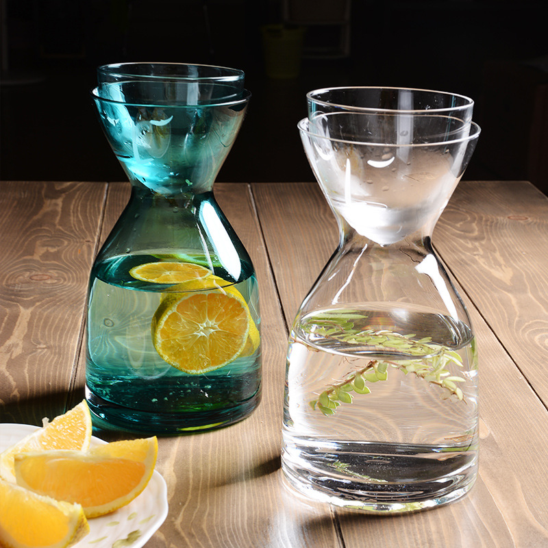 Nordic Creative Smiley Glass Water Jug 1 Pot 1 Cup Cold Water Bottle Juice Beverage Flower Kettle Home Glass Bottle 800ml