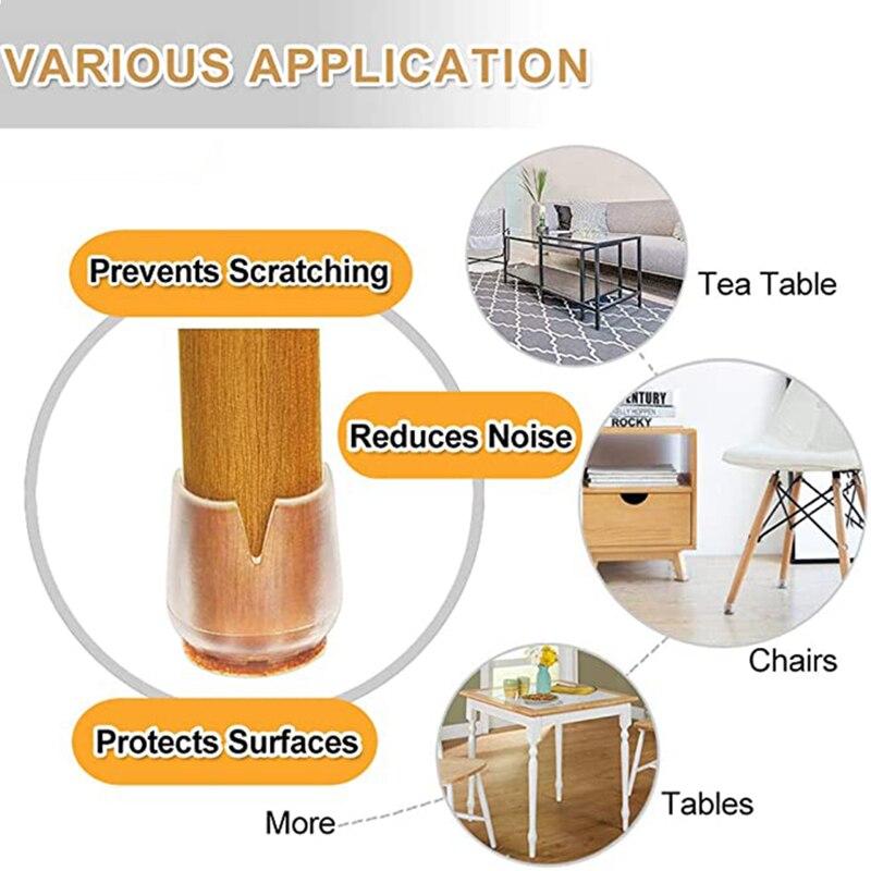 Модернизированная мебель, 24 шт., фетровая подкладка, Нескользящие колпачки для ножек стола, стула, защита для пола, настольная лампа-3