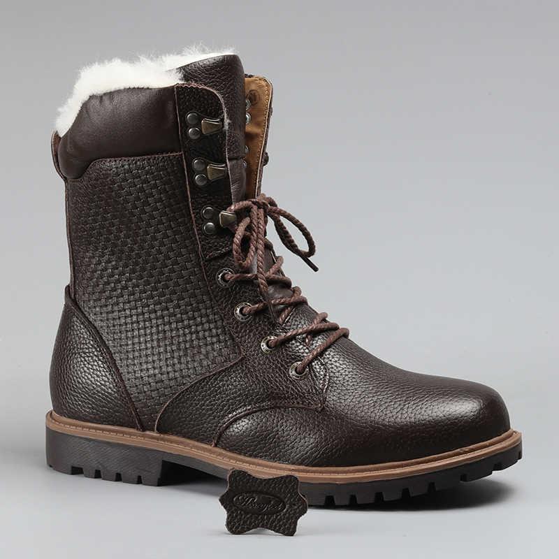 Natuurlijke Wol Mannen Winter Schoenen Warmste Echt Lederen Handgemaakte Mannen Winter Snowboots # YM1568