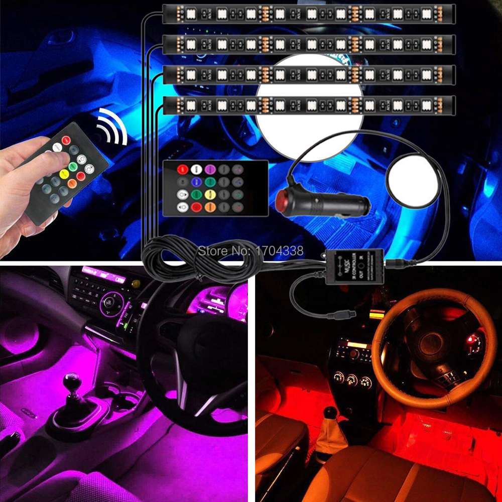 8Color RGB LED Strip Sound Activated Car Interior Music Lights Ambient Lamp